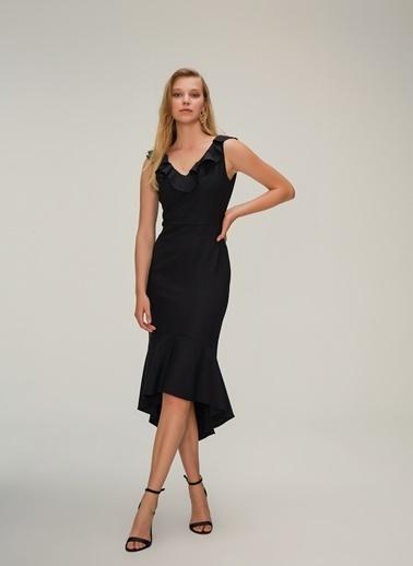 NGSTYLE Volan Detaylı Midi Elbise Siyah
